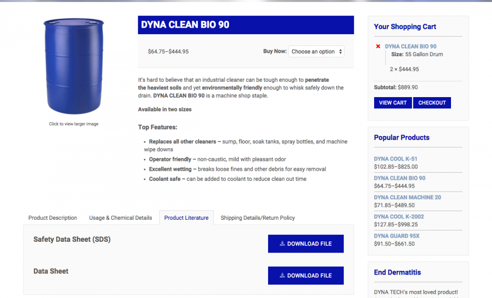 DYNA TECH Product Download Example